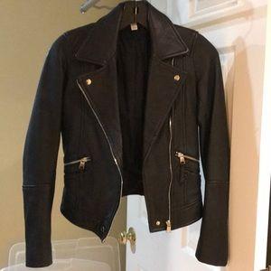 Zara Black faux leather biker Moto jacket